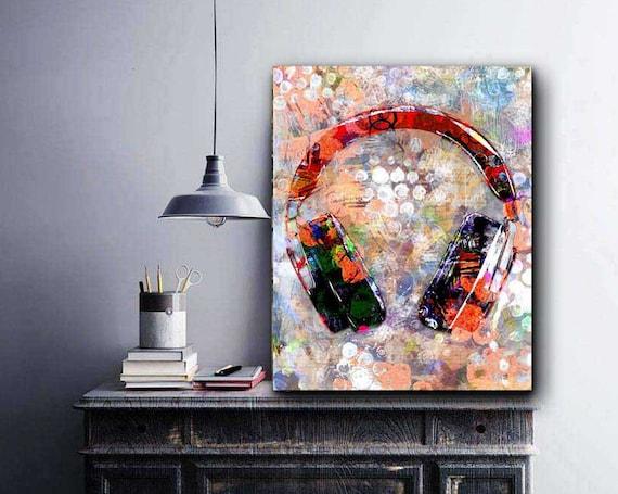 Headphones DJ Modern CANVAS WALL ARTWORK Square Art Print