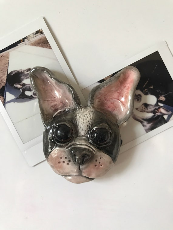 Cute Bulldog Puppy Head 3-D  Sculpted Magnet