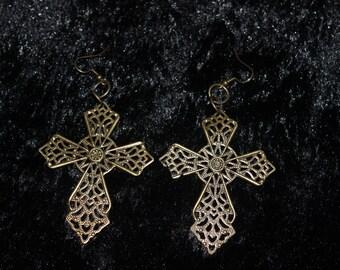 Brass Colored Cross Earrings