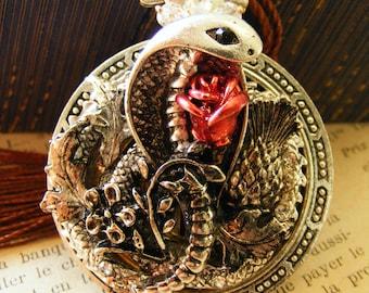 Steampunk fantasy snake pendant