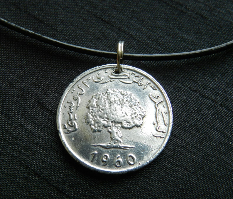 TUNISIA The Oak CM49 1960-61 Years Old Genuine Coin Pendant on Black Leather