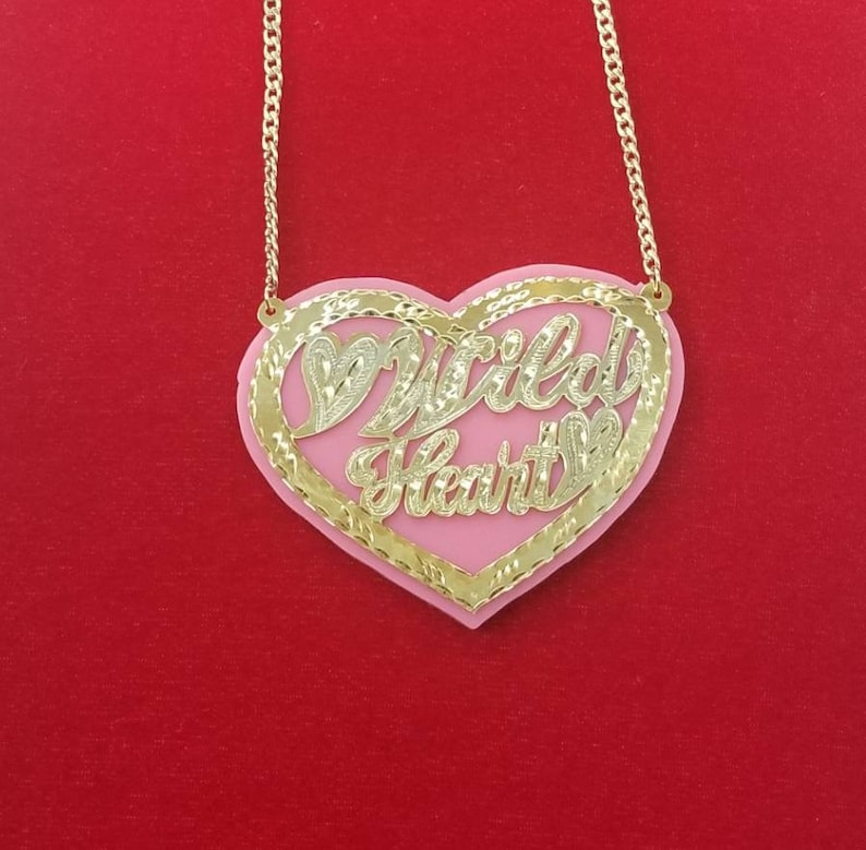 Customized Name NecklacePersonalized Heart Charm Name Plate-Name Necklace Gold Name Necklace-Gift for Her-Birthday Gifts