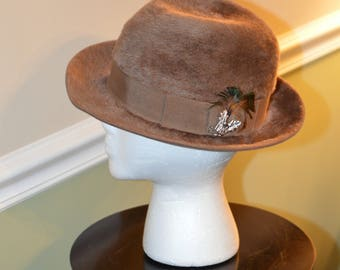 2ca6372d924 Vintage Yves Saint Laurent Women's Light Brown Empress Fedora Fur Felt Hat  With a Vintage Hat Box 1960's