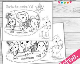 DIGITAL Sheriff Callie coloring placemat 2 sizes included!