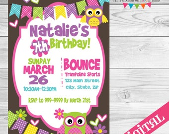 DIGITAL Owl party invitation
