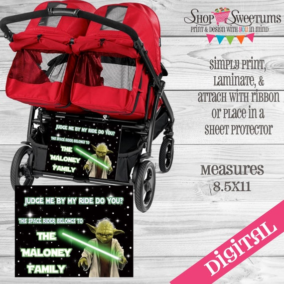 disney yoda star wars stroller tag digital or printed etsy