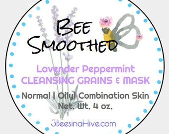 WHOLESALE ONLY Lavender Peppermint Cleansing Grains- Cleansing Grains, Face Scrub, Facial Mask, Face Cleanser, detox mask, crunchy betty