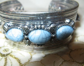 Vintage Silver? And Turquoise Bracelet/Cuff..