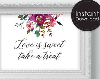 Candy Bar Sign, Love is sweet Take a treat, Printable Wedding Sign, Printable Wedding Decor, Instant Download,Digital Printable File, Alissa