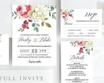Wedding Invite Set, Wedding Invitations, Garden Wedding, Invite suite, Printable Wedding Invitation, watercolor flowers, BLUSH IVORY,Harley