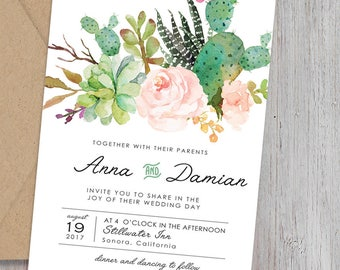 Bohemian Wedding Invite Set, Floral Succulents Wedding Invitations,Blush and Mint,Rustic Invite,Desert Wedding Invitation,Simone Collection