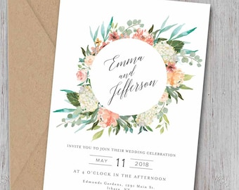 Wedding Invitation Suite, Blush Peach Floral Invite Set, Destination Wedding Invitation, DIY Invitations, Printable Wedding Invitation_Layla