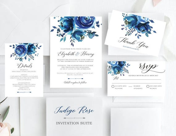 Royal Blue Wedding Invitation Cards: Wedding Invite Set Indigo/Navy Wedding Invitations