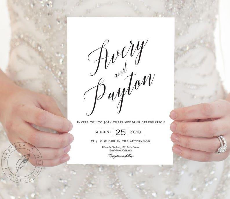 Wedding Invitations Wedding Invite Set Modern Invite suite Calligraphy invitations Printable Wedding Invitation Invitations suite,ELLI