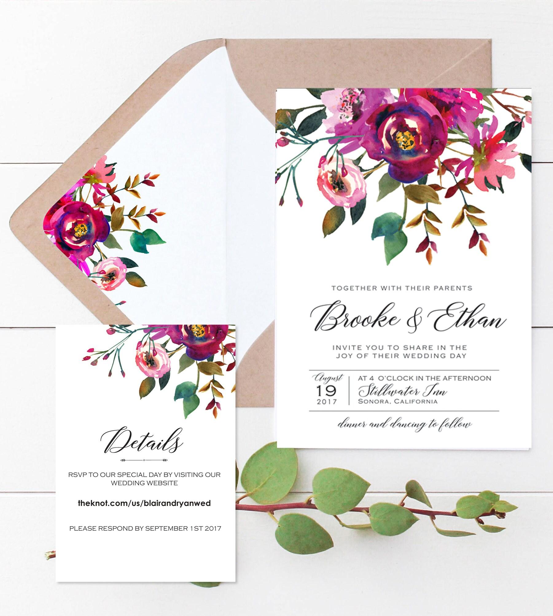 Bohemian Wedding Invitations: Bohemian Wedding Invite Set Floral Wedding Invitations