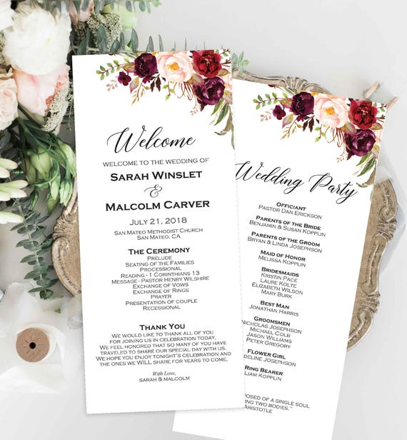 Wedding Program Editable Template Printable Ceremony Program Etsy