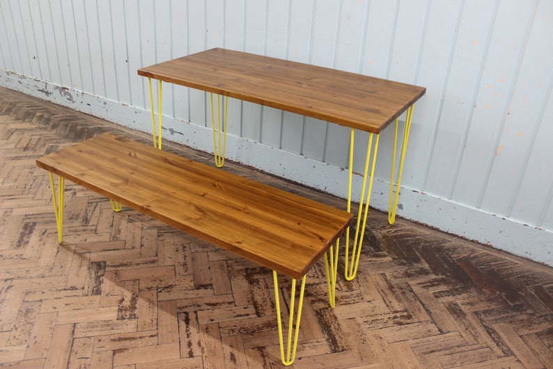 dabdfd3907442 Rustic Retro Industrial Wood Dining Table With Bench Metal