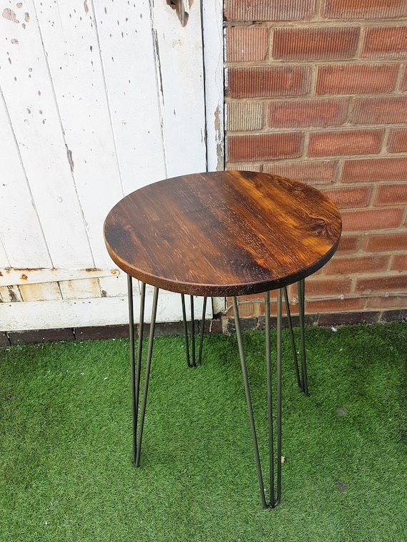 Stupendous Rustic Industrial Wooden Round Table Metal Hairpin Legs Machost Co Dining Chair Design Ideas Machostcouk