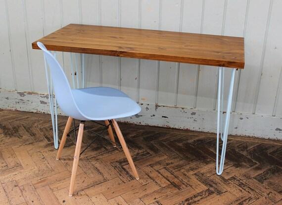 Rustique table à manger bois industriel vintage bureau bébé bleu