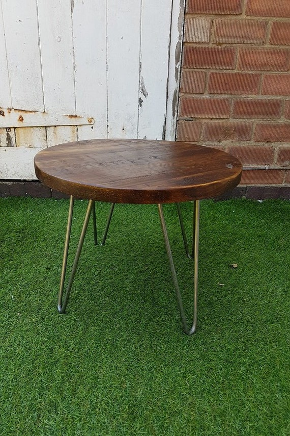 Strange Rustic Industrial Wooden Low Round Coffee Table Metal Hairpin Legs Machost Co Dining Chair Design Ideas Machostcouk