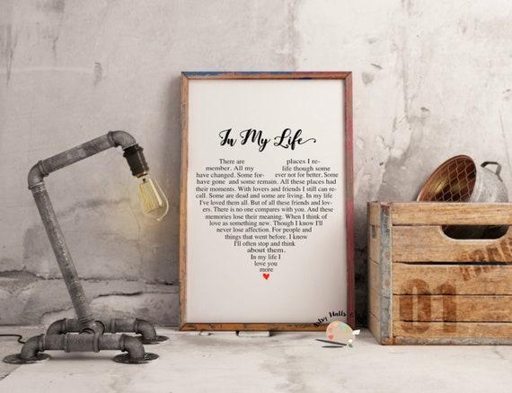 In My Life Beatles Quote Beatles song lyrics Print Printable wall art Wedding Beatles song printable Christmas love heart quote printable