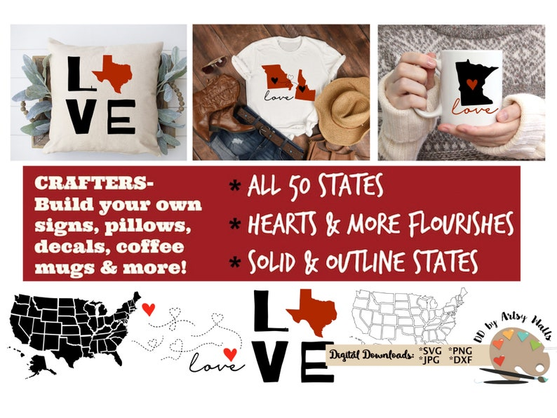 50 states svg cut file bundle for silhouette United states image 0