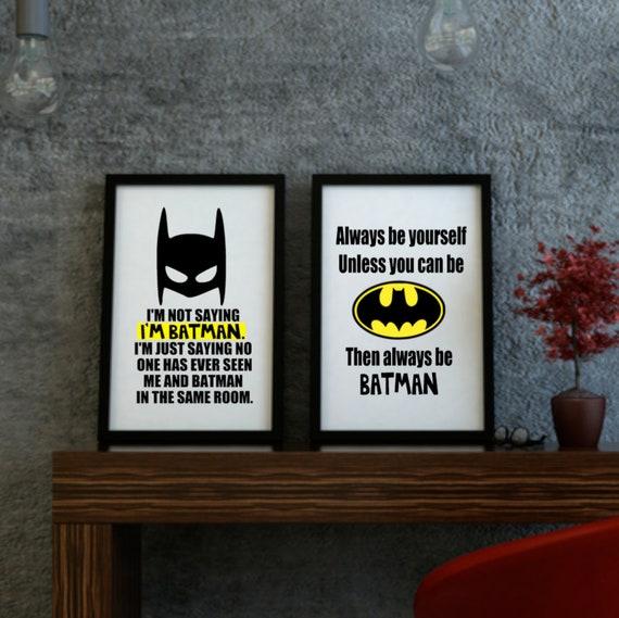 Batman Set Von 2 Drucke Druckbare Wandkunst Ich Sage Nicht Ich Bin Batman Zitat Druckbare Kunst Jungen Schlafzimmer Batman Thema Druck Batman