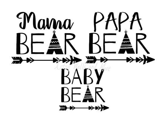 Bear Family Svg Mama Bear Svg Papa Bear Svg Baby Bear Svg Png