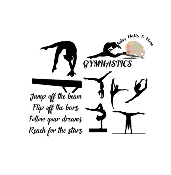 gymnastics quote svg cut file gymnast silhouette collection etsy