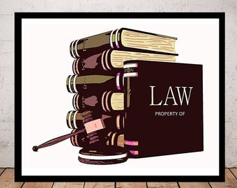 Custom Lawyer Art, Print or Canvas, Personalized Attorney Picture, Law Office Decor, Law Firm Wall Art, Law Student Painting Gift, Law Books