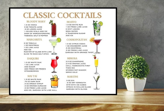 24x36 Cocktails the Essential Poster With Choice of Frame