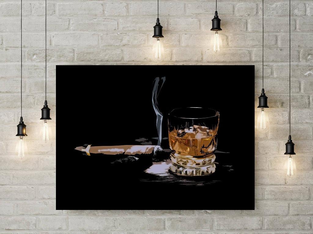 Cigar Art Print Or Canvas Whiskey Decor Bourbon And Cigar