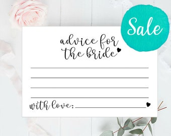 """Advice for the Bride, 4x6"""", Advice Cards, Advice Cards Bridal Shower, Advice Cards Wedding, Words of Wisdom, Bridal Shower Games, Hen Party"""