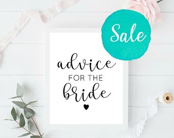 Advice for the Bride, Bride Advice Sign, Advice Sign, Bridal Shower Sign, Bachelorette Sign, Rustic Bridal Shower Sign, Bride Advice Cards