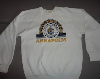 c4376ff7631 Vintage 80 s Annapolis U.S. Naval Academy Crest Crew Neck Screen 50-50 NAVY  Sweatshirt Fits Adult M White USA