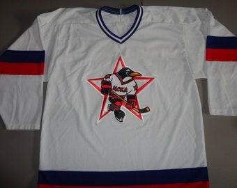 2ae55205 White True Vintage 90's Russia 4CKA Soviet Union Hockey Russian CCM Maska  SEWN Hockey Jersey Adult L polyester Excellent Condition