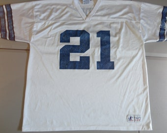 85ef8c462c1 White True Vintage 90's Logo Athletic Brand Dallas Cowboys Deion Sanders  NFL Screen Jersey Adult 54 - 56 (2XL) NFL Football USA