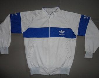 c7ae6c5f3 True Vintage 80's TREFOIL Adidas Three Stripe Embroidered Track Jacket Fits  Adult M White & Blue Rare Hard to Find Full Zip