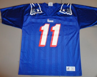 bfc8f1bead6 True Vintage Blue  11 Drew Bledsoe New England Patriots Logo Athletic Adult  L NFL Football Screen jersey USA