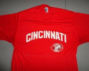 ccb0614eb True Vintage 80's Cincinnati Reds Thin Soft 50-50 Red MLB Baseball Tshirt  Logo 7 Brand Fits Adult M