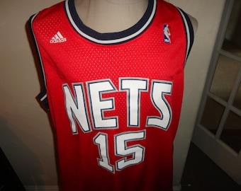 5fbe59b0 True Vintage 90's SEWN New jersey Nets #15 Vince Carter NBA Basketball  jersey Adult 2XL Red & Black Swingman