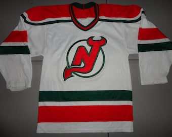 Vintage 90 s White CCM Maska Sewn New Jersey Devils NHL Hockey Jersey Fits  Adult S Small True Vintage fccadaf38