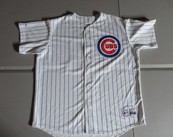 a58297d2d2b True Vintage 90 s Sammy Sosa  21 SEWN Chicago Cubs Majestic Pin Stripe  Pinstripe Chicago Cubs White MLB Baseball Fits Adult 2XL    Rare