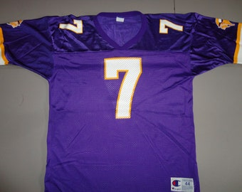 True Vintage 90 s Purple Champion Brand Minnesota Vikings NFL Football  7  Randall Cunningham Adult Size 44 Screen Jersey Excellent Condition 842705f0f