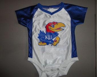 Vintage 90 s Pro Edge Polyester one Piece NCAA  00 Kansas University  Jayhawks 6 Months Baby Jersey 9f005bb08