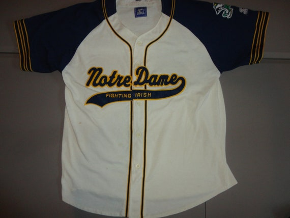 the best attitude a8271 e449a Vintage 90 s Cream and Blue STARTER Sewn Script Notre Dame   Etsy