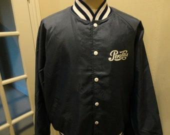 Vtg 80's Blue PEPSI Cola Soda Pop Nylon Snap Bomber Jacket Adult XL Rare Find