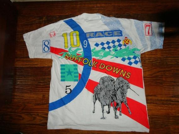 Vtg 90's White Suffolk Downs Horse Racing T-shirt Fits Adult XL Nice Rare Boston