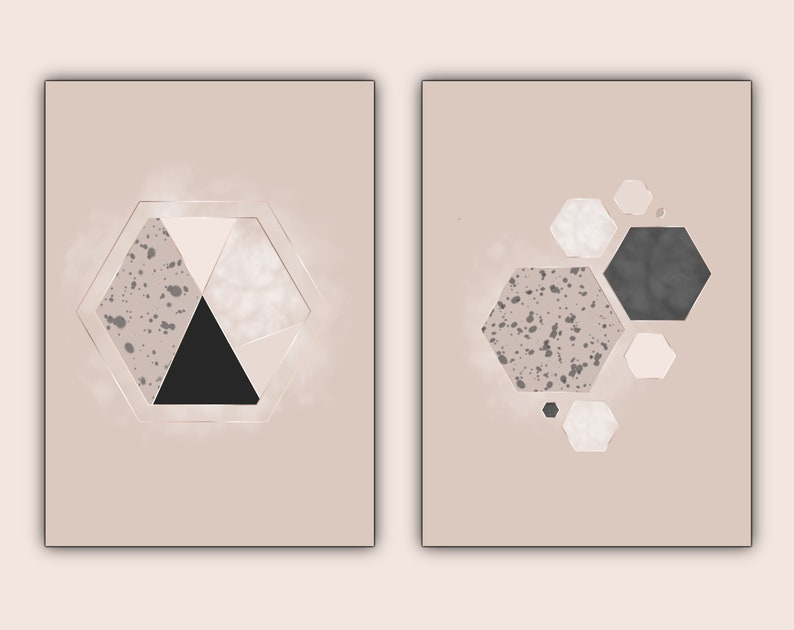 Geometric Prints Set Wall Art Mauve Home Decor Hexagon