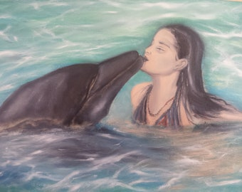 The Friendship oil painting on canvas, the girl, the dolphin water reflection , underwater erlaxing , ready to hang in the wall